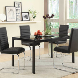 """Coaster - Jenson Dining Table - Ideal for a moderate size dining room or breakfast nook, this contemporary metal dining table is just what you need for a modern look in your space. The rectangular metal table includes black finish with a glossy luster frame and legs. The 5x stronger tempered glass table top adds to the table's style while adding a practical top surface that offers durability and is easy to clean. Choose from two different chair colors: black or white. Jenson Dining Table only. Chairs not included.; Collection: Jenson; Style: Contemporary; Finish/Color: Black Table; Room Size: Moderate; Mix & Match - choose from white or black upholstered chairs; Dimensions: 59.00""""L x 35.50""""W x 30.00""""H"""