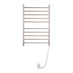 """Myson - Pearl 10 Bar Wall Mount Electric Towel Warmer - Features: -Towel warmer. -Constructions of stainless steel. -Wall mount. -ETL approved. -Supplied with 4 easy to install wall brackets. -Equipped with a safe, reliable and very energy efficient heating element. -Illuminated on / off switch. -Heavy duty cord. -Provides 2 year warranty against any manufacturing defects. Specifications: -Power: 185 Watts. -Horizontal rod diameter: 0.75"""". -Vertical rod diameter: 1.25"""". -Cord extends up to: 48"""". -Overall dimensions: 36.63"""" H x 24"""" W x 4.38"""" D."""