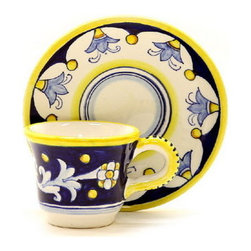 Artistica - Hand Made in Italy - ANTICO DERUTA: Espresso cup and saucer - Sip your espresso the way it was meant to sipped.
