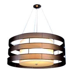 Sheepskin Circular Shade Chandelier - Double drum shade, suspension chandelier.