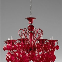 Bella Vetro Chandelier by Cyan Design - The Bella Vetro Chandelier features hand-blown glass finished in a deep red hue, perfect for adding drama to any space.