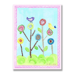 Stupell Industries - Lollipop Flowers and Birds Rectangle Wall Plaque - Made in USA. MDF Fiberboard. Hand finished and packed. Approx. 15 in. W x 11 in. L. 0.5 in. ThickThe Kids Room by Stupell features exceptional handcrafted wall decor for children of all ages.  Using original art designed by in-house artists, all pieces feature hand painted and grooved borders as well as colorful grosgrain ribbon for hanging.  Made in the USA, everything found in The Kids Room by Stupell exudes extraordinary detail with crisp vibrant color. Whether you are looking for one piece to match an existing room's theme, or looking for a series to bring the kid's room to life, you will most definitely find what you are looking for in The Kids Room by Stupell.