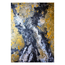 Bryan Boomershine Art - Large Abstract Gold and Black Painting - Title: Gold Slick