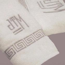 Greek Key Custom Embroidered Bath Towels - These custom Greek key embroidered bath towels would be a beautiful addition to any bathroom.
