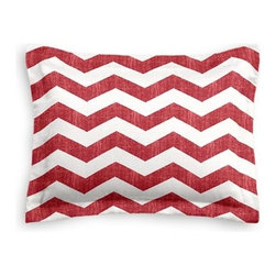 Red & White Chevron Custom Sham - The Simple Sham may be basic, but it won't be boring!  Layer these luxurious reversible shams in various styles for a bed you'll want to fall right into. We love it in this graphic chevron in a washed berry red and ivory on lightweight linen that adds a punch of color to the contemporary home.