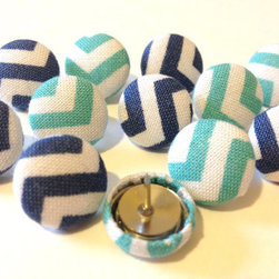 Blue Chevron Pushpins by The Head Bandits, Set of 12 - Pushpins just went up a notch.