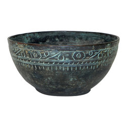 Syrian Antique Verdigris Patina Bowl - Syrian Verdigris Patina Bowl with ancient inspired engraved detailing along edge.  Rich patina finish inside and out. Collectible and one-of-a-kind item.