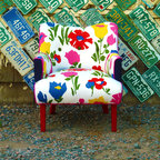 Vintage Flower Art Deco Chair -