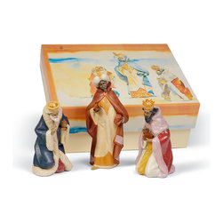 "Lladro Porcelain - Lladro Three Wise Men Set Gres Figurines - Plus One Year Accidental Breakage Rep - ""Hand Made In Valencia Spain - Sculpted By: Juan Huerta - Included with this sculpture is replacement insurance against accidental breakage. The replacement insurance is valid for one year from the date of purchase and covers 100% of the cost to replace this sculpture (shipping not included). However once the sculpture retires or is no longer being made, the breakage coverage ends as the piece can no longer be replaced. """