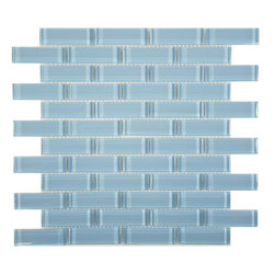 "Euro Glass - Blue Sea Foam  1"" x 3"" Blue Crystile Solids Glossy Glass - Sheet size:  11 5/8"" x 11 5/8""     Tile Size:  7/8"" x 2 7/8""     Tiles per sheet:  48     Tile thickness:  1/4""      Grout Joints:  1/8""     Sheet Mount:  Mesh Backed      Sold by the sheet      -  Our Crystile Series offers a wide range of hues to suit your mood and your style! The vibrancy and depth of our crisp smooth glass results in a unique and dramatic effect for use in both residential and commercial installations.  The Crystile Series is virtually limitless in its range of applications and is suitable for the following walls backsplashes and any area just waiting to be transformed by light and color! Our sheets of mesh-mounted glass can be used to produce and endless variety of field patterns borders and medallions. This Series is ideal for use alone or as an exquisite complement to ceramic and natural stone materials. Let creativity be your guide. Crystile tiles are are easy to clean and maintain. Our tiles will never discolor and will continue to provide a smooth and luxurious appearance for many years to come."