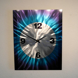Miles Shay - Metal Art Wall Art Decor Abstract Contemporary Modern- Large Blue Clock - Large numbers for the visually impaired. This Abstract Metal Wall Art & Sculpture captures the interplay of the highlights and shadows and creates a new three dimensional sense of movement as your view it from different angles.