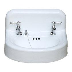 Consigned Refinished 1920's Backsplash Wall Mount Cast Iron Porcelain Bath Sink - Refinished 1920's Rounded Backsplash Apron Wall Mount Cast Iron Porcelain Bathroom Sink