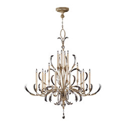 Fine Art Lamps - Beveled Arcs Chandelier, 739640ST - Tall tapered candle lights and swooping arcs of clear, beveled crystal lend this chandelier a regal grace. The warm silver-leaf finish is softer than the reflective twinkle of the transparent crystals, giving the piece an airy lightness. Bet you'll be inspired to set the table for more candlelight dinners once this is hanging in the room.