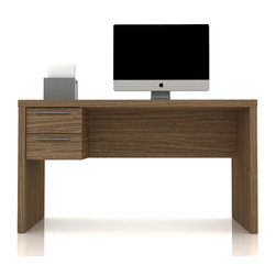 Manhattan Comfort - Classic Hamilton Desk, Walnut - The Hamilton desk 1.3 is smooth and compact, perfect for any office space. With two drawers that can be inserted on the right or left side, the Hamilton desk is practical and tasteful. The desk is thick and strong and built to last, and will withstand long use. The unique paint is protected by the Microban Antibacterial Protection.