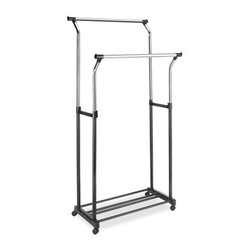 "Whitmor - Double Adjustable Garment Rack - Whitmor Double Adjustable Garment Rack & Shelf - Dimensions: 22"" x 34.49"" x 68"" - Ebony/Chrome  This item cannot be shipped to APO/FPO addresses. Please accept our apologies."