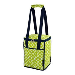 Picnic at Ascot - Collapsible Insulated Cooler, Trellis Green by Picnic at Ascot - Our Collapsible Insulated Cooler in Trellis Green by Picnic at Ascot is thermal shielded insulated cooler with leak proof, food safe lining that is perfect for picnics, outdoor events and trips to the market. Its contemporary shape has a zippered main compartment and front pocket.