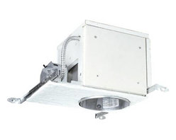 """Progress Lighting - Progress Lighting P821-FBFC Housing for Recessed Lighting Fixture P821-FBFC - Will maintain up to a one-hour fire rating when installed in a UL L500 series non-IC fire rated floor ceiling assembly.Collection: Recessed Energy Star Compliant: No Height: 9-9 16"""" Length: 16-1 8 Weight: 14 Width: 12-3 8""""{Wiring Universal J-box with snap-out sides 1 2"""" and 3 4"""" Knock outs for rigid conduit or BX fittings Grounding pigtail Knock out free integral Romex clamps Access door in housing for field inspection of wiring {Construction Adjustment for ceiling thickness from 1 2"""" to 2"""" Steel outer housing For new construction applications Notched housing for chalkline alignment Overspray protection Socket can be used as a work light Porcelain socket with nickel-plated brass screw shell Fits into 2X10 construction 6 pieces of UL classified fire resistant gypsum board attached to recessed housing Fiberglass gasket on bottom of frame to minimize heat transfer into ceiling cavity {Bar Hangers Integral nailers for wood joist construction. Must be reinforced with screws nails per instruction sheet. Integral T-Bar mounting clamps Spans 24"""" spacing ceiling wires are required to support housing in all 24"""" on center spacing. 4 lances in bar hanger channels provide means for attachment. Lock in position to secure housing Comes with 4 clips for mounting bar hangers to furring channels when present in a fire rated assembly. (Required for most P500 series applications). {Labeling Non-IC rated insulation must be kept at least 3"""" away from housing UL-CUL listed for damp location and feed through wiring UL Classified to maintain fire ratings of 1 hour or less for all UL P500 series fire rated ceiling floor assemblies UL Classified to maintain fire ratings of 2 hours or less in all UL D200, G200, L200, D500, G500 and L500 series fire rated ceiling assemblies. {Lamp Trim Socket mounts to trim for optimum performance and consistent lamp position Trim-Lok action for trim retention forc"""