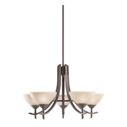 Kichler 5-Light Chandelier - Olde Bronze - Five Light Chandelier The Olympia collection brings a modern twist on the classic aesthetic to create a new form the likes of which has not been seen before. The curvilinear, flowing arms of these chandeliers, pendants, and wall sconces create a clean, contemporary profile for your home. The olde bronze finish combined with sunset marble glass diffusers and shades present a natural color palate capable of matching any decor. This medium-sized, 5-light Olympia chandelier is a wonderful choice for the homeowner looking for a fashionable and functional design. It uses 60-watt bulbs that, when combined with the satin-etched white glass diffusers, create soft, yet practical light for any room. All in all, a wonderful piece that will certainly enhance your home.