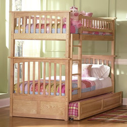 Atlantic Furniture - Columbia Twin Over Twin Bunk Bed w Raised Pan - NOTE: ivgStores DOES NOT offer assembly on loft beds or bunk beds. Includes upper and lower panels, rails, clip-on ladder, 2 slats and raised panel trundle. Mattress not included. Made of premium, eco-friendly hardwood with a 5-step finishing process. Solid hardwood Mortise & Tenon construction. 26-Steel reinforcement points. Designed for durability. Guard rails match panel design. Meet or exceed all ASTM bunk bed standards, which require the upper bunk to support 400 lbs.. Pictured in Natural Maple finish. 1-Year manufacturer's warranty. Clearance from floor without trundle or storage drawers: 11.25 in.. 80.5 in. L x 44.25 in. W x 68.13 in. H. Raised panel trundle: 74.75 in. L x 40.38 in. W x 11.63 in. H. Bunk Bed Warning. Please read before purchaseThe Columbia bunk bed features a classic Mission style design with subtle curves and solid post construction.