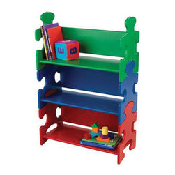 "KidKraft - Kidkraft Kids Reading Book Storage Organizer Wooden Puzzle Book Shelf Primary - Our popular Puzzle Bookshelf is perfect for helping young children stay organized. With its bright colors and creative design, this shelf would look perfect in any boy or girl's room. Dimension: 25""x 11.5"" x 37.5"" H"