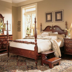 American Drew - Cherry Grove Poster Bed - 791-387R - Shop for Beds from Hayneedle.com! Transform even a small master bedroom into a regal master suite with the Cherry Grove Low Poster Bed. The low posts won't overwhelm your space so you can enjoy classic opulent style without dominating the room. Ornate turn-carved posts and detailed moldings create a traditional look while strong vertical elements visually heighten your ceilings. The center finial grabs your attention and is the perfect finishing touch. Made from resilient durable hardwood in a dark antique finish this beautiful bed includes a sturdy mattress support system for years of comfort. Queen: 82L x 65W x 88H inches King/California King: 82L x 79W x 88H inches About Lea IndustriesLea Industries is a leading manufacturer of youth furniture. The Elation Collection is a perfect example of the craftsmanship and style Lea is dedicated to preserving. Featuring clean lines and subtle design elements Lea is a fashionable option for girls and boys alike. Each piece is crafted from fine hardwoods veneers wood products and simulated wood to ensure both durability and quality furniture that will stand up to the wear and tear of youth use.