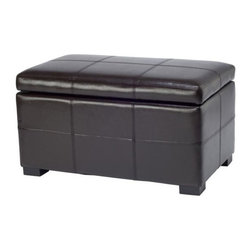Safavieh Furniture - Madison Leather Storage Ottoman - Contemporary style. Brown leather upholstery. Made from sturdy wood. No assembly required. 30 in. W x 18 in. D x 17 in. H (38 lbs.)The safavieh small brown madison leather storage ottoman perfect for any decor