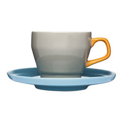 Color Pop Mug and Saucer - Gray - Sip your favorite frothy coffee drink from this beautiful mug (it's perfect for a macchiato or cappuccino). With stylish pops of gray, orange, and turquoise, this cup and saucer will make your morning jolt a treat for both your taste buds and your eyes.