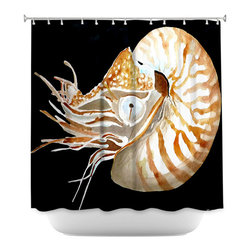 DiaNoche Designs - Shower Curtain Artistic - Deep Sea Life- Nautilus - DiaNoche Designs works with artists from around the world to bring unique, artistic products to decorate all aspects of your home.  Our designer Shower Curtains will be the talk of every guest to visit your bathroom!  Our Shower Curtains have Sewn reinforced holes for curtain rings, Shower Curtain Rings Not Included.  Dye Sublimation printing adheres the ink to the material for long life and durability. Machine Wash upon arrival for maximum softness. Made in USA.  Shower Curtain Rings Not Included.