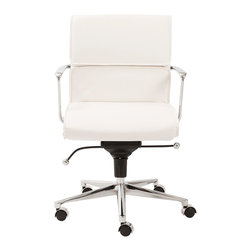 Euro Style - Euro Style Leif Low Back Office Chair 00678WHT - With brightly finished bases and armrests there is a distinctively professional look to these chairs. The one piece seat and the paneled seat back offer all day comfort which is great for that one day a week you can leave a little early for golf, or shopping or watching that soccer match at school.