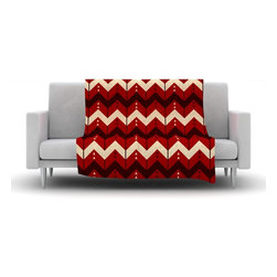 """Kess InHouse - Nick Atkinson """"Chevron Dance Red"""" Fleece Blanket (50"""" x 60"""") - Now you can be warm AND cool, which isn't possible with a snuggie. This completely custom and one-of-a-kind Kess InHouse Fleece Throw Blanket is the perfect accent to your couch! This fleece will add so much flare draped on your sofa or draped on you. Also this fleece actually loves being washed, as it's machine washable with no image fading."""