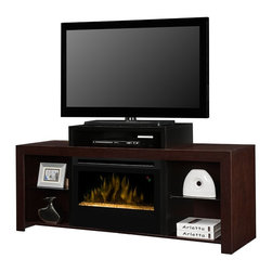 Dimplex Beasley Electric Fireplace Media Console in Walnut w/ Glass Embers - GDS - Looking for the perfect entertainment center with just the right amount of contemporary styling without being too bold? The Beasley Electric Fireplace Media Console in Kingston Brown with black accents features a tiered design that lifts your flat screen television higher off the cabinet. Below the stand is an opening perfect for housing either your cable box or DVD player. And on either side of the firebox you'll find open shelves for either media storage or to display your favorite photos or collectibles. Space and style is certainly not lacking with this piece and delicately balances form with function. The centrally focused modern glass ember bed firebox certainly boasts a life-like flame effect. The 3D flames appear to rise up from the crushed and reflective glass pieces for a mesmerizing effect. Using all LED lighting you'll never have to worry about replacing a bulb and offers energy efficient savings. Not only does the firebox offer the appearance of a real flame, but also the feel. Capable of producing supplemental heat for areas up to 400 Sq. Ft. you'll stay comfortable and warm no matter what the temperature is outside. Easily set the desired temperature of the heater using the included remote control and receive visual confirmation from the on-screen digital display.