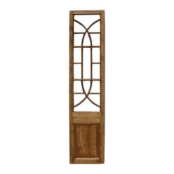 Golden Lotus - Chinese Antique Solid Elm Wood Screen Wall Deco Panel - This is a Chinese antique tall carving panel which is made of solid elm wood. It can be used vertically or horizontally to decorate your wall.