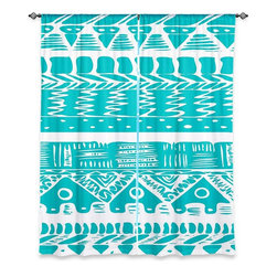 """DiaNoche Designs - Window Curtains Unlined by Organic Saturation - Boho Blue Aztec - DiaNoche Designs works with artists from around the world to print their stunning works to many unique home decor items.  Purchasing window curtains just got easier and better! Create a designer look to any of your living spaces with our decorative and unique """"Unlined Window Curtains."""" Perfect for the living room, dining room or bedroom, these artistic curtains are an easy and inexpensive way to add color and style when decorating your home.  The art is printed to a polyester fabric that softly filters outside light and creates a privacy barrier.  Watch the art brighten in the sunlight!  Each package includes two easy-to-hang, 3 inch diameter pole-pocket curtain panels.  The width listed is the total measurement of the two panels.  Curtain rod sold separately. Easy care, machine wash cold, tumble dry low, iron low if needed.  Printed in the USA."""