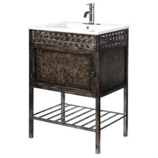 Home Decorators Collection Sydney 23-3/4 in. W Iron Vanity in Coppery with Porce