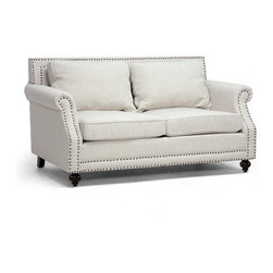 Wholesale Interiors - Mckenna Beige Linen Modern Loveseat - Contemporary loveseat