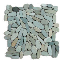 Glass Tile Oasis - Batik Blue Pebbles and Stones Blue Flat Pebbles Series Tumbled Natural Stone - During manufacturing, the pebbles are hand sorted into like colors and sizes and individually glued onto mesh backing. As a result, product will vary in size, shape and color. Colors represented online may not show full range of variation. It is not unusual to find occasional imperfections, veins and lines of separation within the pebbles. This variation is considered to be a desired feature in the product.