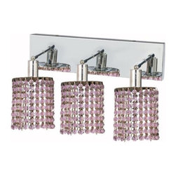 "PWG Lighting / Lighting By Pecaso - Wiatt 3-Light 14.5"" Crystal Vanity Fixture 1091W-O-R-RO-SS - Whether shown individually or as a collection, our Mini Crystal Chandeliers are stunning in any fashion. This stylish collection offers stunning crystal in a range of colorful options to suit every decor."