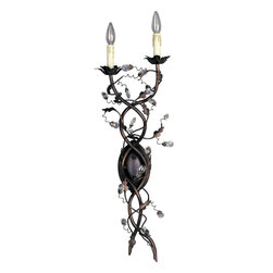 Maxim Lighting - Maxim Lighting Elegante Traditional Wall Sconce X-IO8582 - This Maxim Lighting Elegante Traditional Wall Sconce is a dramatic and eye-catching piece. You will surely notice the wrap-around vines with delicate leaves and glistening crystals. It's a magnificent, 34-inch-tall piece finished in a rich and warm, oil rubbed bronze, and one that's sure to stand out in any room.