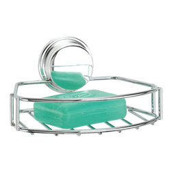 Better Living Twist'N'Lock Plus Soap Shower Basket - 13810 - A handy storage solution for your beauty bars. This Soap Basket is made of durable chrome plated steel and is perfect for your bath and shower. Use the suction for installing onto smooth surfaces like glass or mirror or use the screw option for a more permanent installation onto any wall surface.