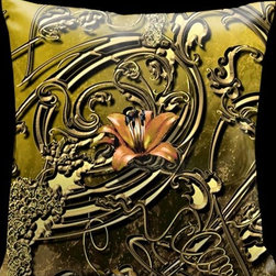 Lama Kasso - Como Gardens Golden Yellow with Antique Gold Vines and Orange Accents 18 x 18 Sa - -Satin Lama Kasso - 112