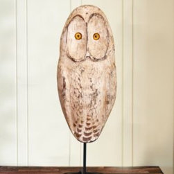 Hand-Carved Snowy Owl - Hand-carved from sustainably harvested Atlantic white cedar, this snowy owl will keep watch over your home.