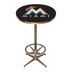 Imperial International - Miami Marlins MLB Pub Table - Check out this awesome pub table. It's perfect for your Man Cave, Game Room, Home Bar, or anywhere you want to show love for your favorite team. It has a disco style steel base with leg levelers and foot ring.