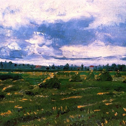 "Vincent Van Gogh Wheat Fields with Stacks - 16"" x 20"" Premium Archival Print - 16"" x 20"" Vincent Van Gogh Wheat Fields with Stacks premium archival print reproduced to meet museum quality standards. Our museum quality archival prints are produced using high-precision print technology for a more accurate reproduction printed on high quality, heavyweight matte presentation paper with fade-resistant, archival inks. Our progressive business model allows us to offer works of art to you at the best wholesale pricing, significantly less than art gallery prices, affordable to all. This line of artwork is produced with extra white border space (if you choose to have it framed, for your framer to work with to frame properly or utilize a larger mat and/or frame).  We present a comprehensive collection of exceptional art reproductions byVincent Van Gogh."