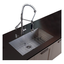 Vigo Industries - Platinum Stainless Steel Kitchen Sink with Faucet - Includes stainless steel kitchen sink, stainless steel kitchen faucet, matching grid, strainer and stainless steel soap dispenser and all mounting hardware provided