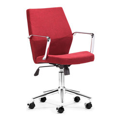 Zuo Modern - Zuo Holt Low Back Office Chair in Red - Low Back Office Chair in Red belongs to Holt Collection by Zuo Modern Geometrical in design, the Holt office chair has a sexy shape. It comes in two styles: red fabric and black or white PU. Office Chair (1)