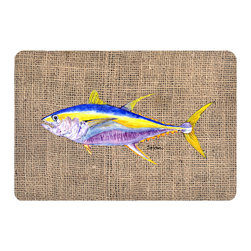 Caroline's Treasures - Fish - Tuna Kitchen or Bath Mat 20 x 30 - Kitchen or Bath Comfort Floor Mat This mat is 20 inch by 30 inch. Comfort Mat / Carpet / Rug that is Made and Printed in the USA. A foam cushion is attached to the bottom of the mat for comfort when standing. The mat has been permanently dyed for moderate traffic. Durable and fade resistant. The back of the mat is rubber backed to keep the mat from slipping on a smooth floor. Use pressure and water from garden hose or power washer to clean the mat. Vacuuming only with the hard wood floor setting, as to not pull up the knap of the felt. Avoid soap or cleaner that produces suds when cleaning. It will be difficult to get the suds out of the mat.