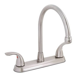 PREMIER - Bayview Lead-Free Two-Handle Kitchen Faucet without Spray, PVD Brushed Nickel - Streamlined European styling and a convenient high-arc spout are the signature of this twin-handled Premier Bayview kitchen faucet. Ceramic disc cartridges ensure smooth, leak-free performance for the demands of the modern kitchen. This Bayview kitchen faucet features two metal lever handles, 1/2-inch IPS connections, quality lead-free brass construction, wear-resistant ceramic disc technology, and a PVD brushed nickel finish. Premier's physical vapor deposition (PVD) process provides a brushed nickel finish that is exceptionally strong and resistant to corrosion tarnishing, scratching, and discoloration. The Bayview kitchen faucet delivers a powerful flow rate of 2.2 gallons per minute. This faucet complies with the requirements of the uniform plumbing code and the Americans with disabilities act. It is backed by Premier's industry-leading limited lifetime warranty. This Premier faucet has been certified to meet the strict lead-free standards of California and Vermont.