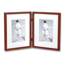 Lawrence Frames - Walnut Wood 8x10 Hinged Double Picture Frame Matted to 5x7 - Contemporary double hinged walnut brown wood gallery picture frame with two acid free bevel cut mat.  High quality black wood backing for vertical or horizontal table top display, and hangers for vertical or horizontal wall mounting.    Hand finished 8x10 wood picture frames matted to accommodate 5x7 photos is made with exceptional workmanship and comes individually boxed.  Can be used without mats for 8x10 photos.