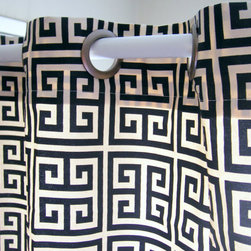 Shower Curtain Towers Navy Blue and Ivory Greek Key By Elisabeth Michael - A navy and white Greek key shower curtain in 100-percent linen is such a great classic, and perfect for a man's bathroom.