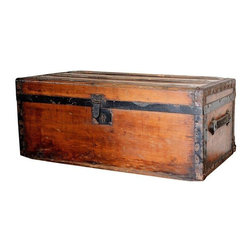 Pre-owned Antique Small Trunk - Store all of your pirates booty in this vintage small wood and metal trunk. Keep it in the living room or bedroom to stow away blankets or shoes.